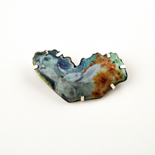 Thelxiepi. Brooch. enamel on copper, sterling silver. 2011