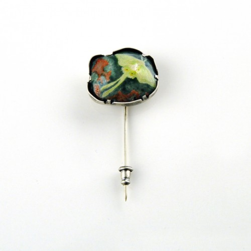 Saturniidae. Brooch. Enamel on copper, sterling silver, steel pin. 2011